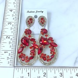 Cherryl's Jewelry - Red Crystal Chandeliers Event Earrings
